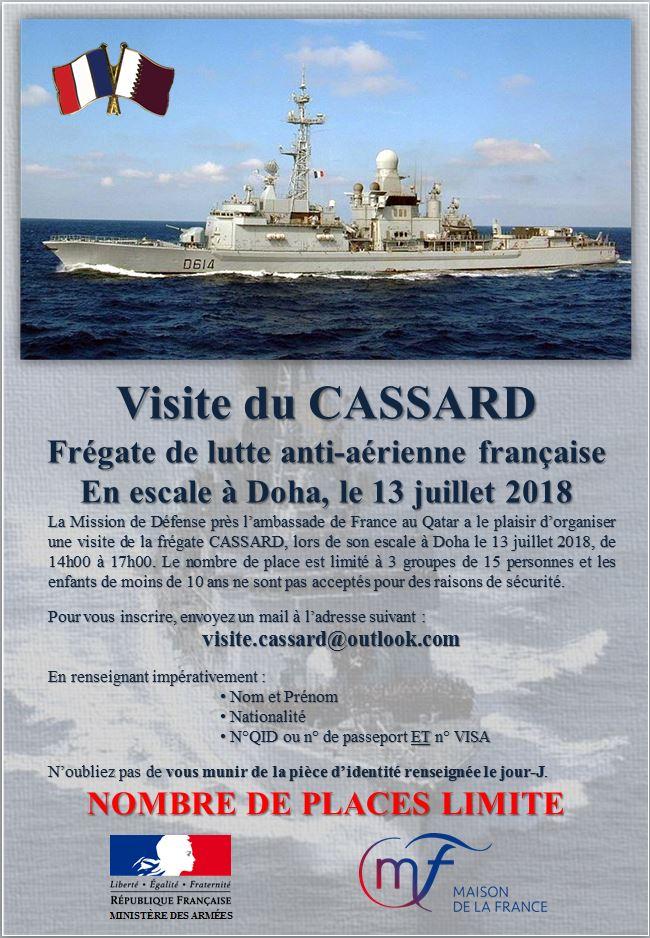 Visite du Cassard, la frégate de lutte anti-aérienne française, en escale à Doha le 13 juillet 2018
